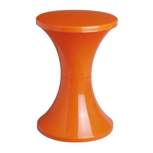 Designklassiker Hocker Tam Tam Pop mit Stauraum unter der Sitzfläche, Stapelbar, leicht, orange