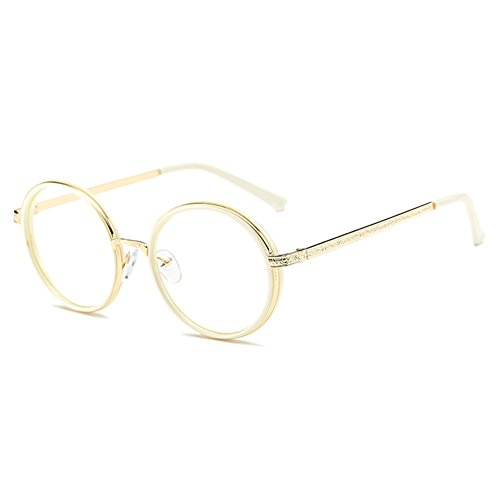Juleya Hombres de las mujeres gafas redondas - Anti azul claro claro lente gafas marco para ordenador/PC juego/TV / teléfono celular de lectura gafas