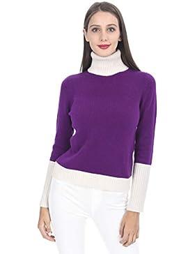 State Cashmere Suéter de Cuello Alto con Color de Contraste de Cachemira 100% para Mujer