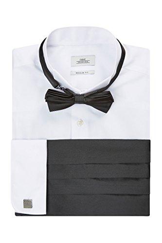 Next uomo camicia con collo diplomatico, farfallino, gemelli e fascia da annodare in vita - vestibilità slim e polsino doppio bianco uk 16 1/2l