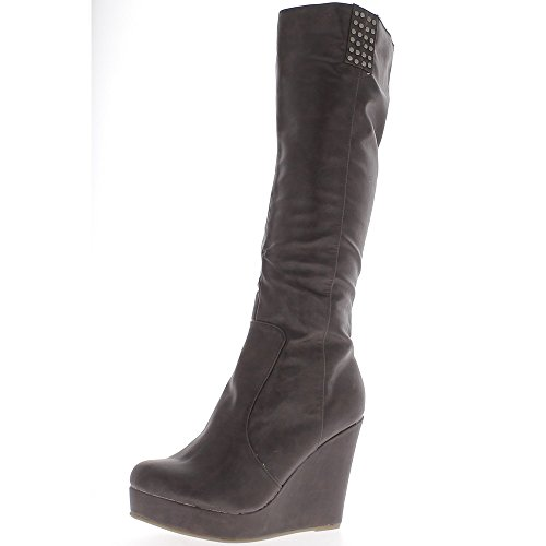Keil-Stiefel Braun Ferse Frauen 10,5 cm - 40