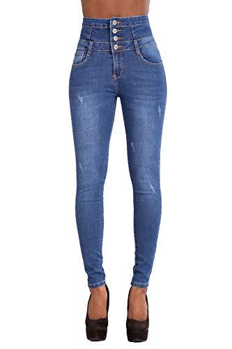 Glook skinny jeans donna pantaloni a vita alta legging eleganti elastico denim lunghi matita pantaloni (34, denim blu sbiadito)