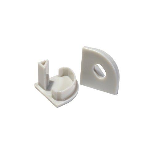 Alumino® Profilé LED en aluminium angle rond avec cache opale/semi-transparent/transparent Longueur 200/150/100/50 cm, Plastique, x2 Endkappen