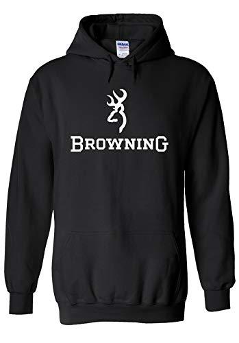 PatPat Store Browning Shotgun Hunting Cool Novelty Black Men Women Unisex Hooded Sweatshirt Hoodie-M -