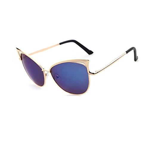 URSING klassische Männer Frauen Metallrahmen Spiegel Sonnenbrille Cat Eye Brillenmode Klare Gläser Kurzsichtigkeit Brille Schick Verspiegelt Sonnenbrille Unisex Vintage Retro Sunglass