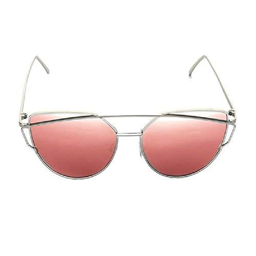 GERPY Cat Eye Vintage Markendesigner Roségold Spiegel Sonnenbrille für Frauen Metall reflektierende flache Linse Sonnenbrille weiblich