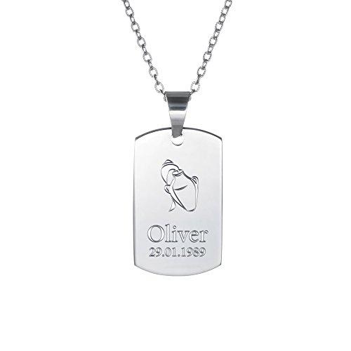 Gravado Halskette aus Edelstahl mit Dog Tag Anhänger – Tierkreiszeichen Wassermann – Namensgravur – Unisex Schmuck – Länge 50 cm