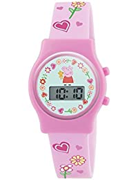 Peppa Pig Girl's Digital Watch with Blue Dial Digital Display and Pink Silicone Strap PP009