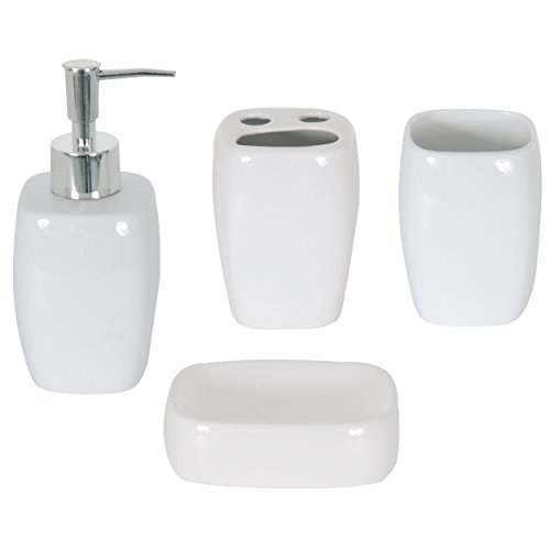 MSV Bad Accessoires Keramik weiß 4-teilig - Seifenspender, Seifenschale, Zahnputzbecher, Becher