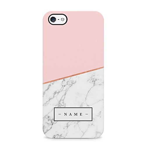Personalised Custom Initial Name Pink Marble Create Your Own Customized Protective Hard Plastic Case Cover For iPhone 5 / iPhone 5s / iPhone SE Carcasa