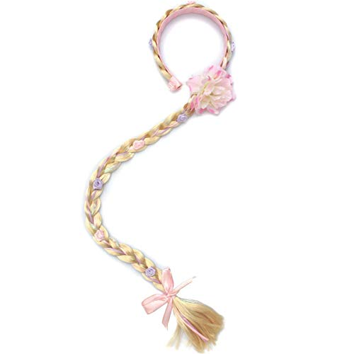LHKJ Pelucas de Princesa Rapunzel Accesorio, Vestir Accesorios Niñas de Rapunzel Peluca Trenzas Fiesta de Princesa Rapunzel Disfraz Accesorios Regalo para niñas