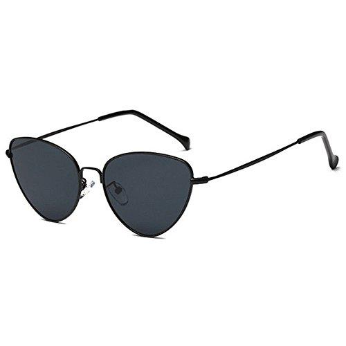xinzhi Cat Eye Sonnenbrillen, Sonnenbrillen mit Metallrahmen Mode Sonnenbrillen Übergroße Cat Eyes Damen Sonnenbrillen - Schwarzer Rahmen Schwarz Grau