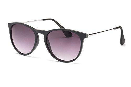 Filtral Sonnenbrille | Runde Retro-Sonnenbrille in Pantoform für Damen & Herren in Schwarz mit Verlaufglas F