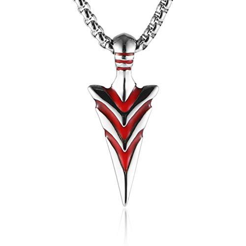 Haoda Herren-Halskette mit Pfeilspitzen-Anhänger Edelstahl 61 cm (Halskette Pfeilspitze Rote)