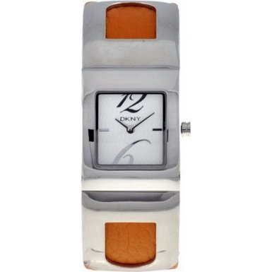 DKNY NY4344 Ladies Stainless Steel Orange Patent Leather Strap Watch