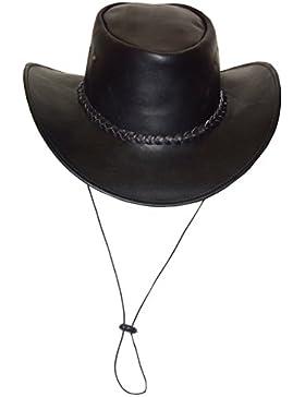 Broome–Sombrero de cowboy de piel de vacuno, con correa, color negro