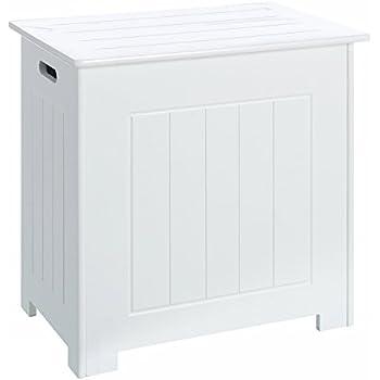 Coffre à Linge blanc minimaliste en bois pour salle de bain Vitta: Amazon.fr: Cuisine & Maison