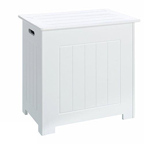Baúl de ropa minimalista blanco de madera para cuarto de baño Vitta - Lola Derek