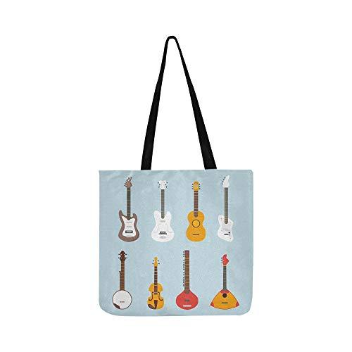 Schöne Gitarre Verschiedene Vektor Gitarren Leinwand Tote Handtasche Umhängetasche Crossbody Taschen Geldbörsen Für Männer Und Frauen Einkaufstasche