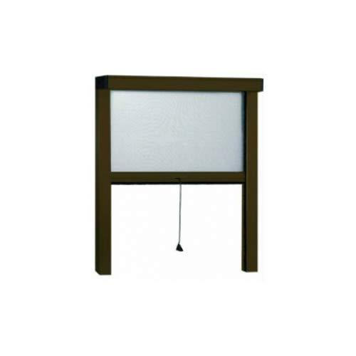 Grecoshop zanzariera a rullo in alluminio per finestre con profilo riducibile/regolabile avvolgimento verticale con frizione 140x170cm marrone