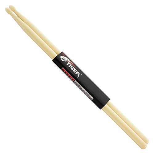 Tiger 5A Maple Drumsticks - Wooden Drum Sticks - Pair of Wooden Tip Drumsticks
