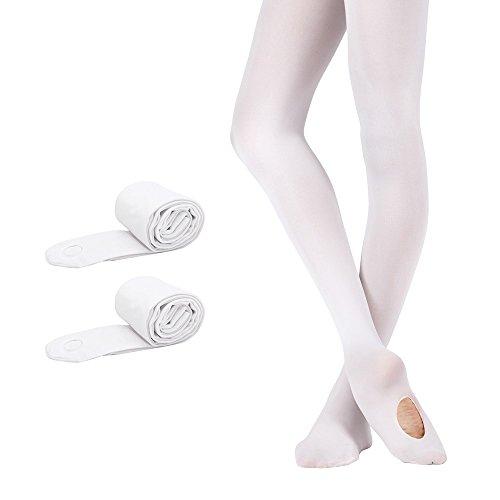 Bezioner 2 Paare Cabrio Ballett Strumpfhose Tanzstrumpfhose für Kinder Mädchen und Damen Weiß M - Erwachsenen-cabrio Strumpfhosen