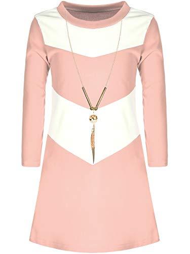 d mit Kette Langarm-Kleid Longshirt Tunika 30004 Rosa 14/146 ()