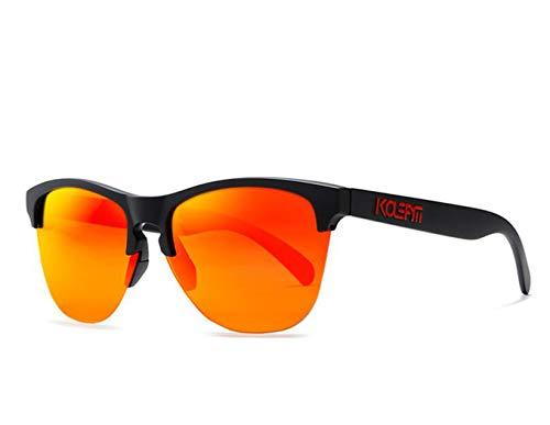 Herren Polarisierte Sonnenbrille Autofahren Herren Sonnenbrille Herren/Damen Rechteckige Retro Sonnenbrille Reflektierende Farbe Linsen,Orange