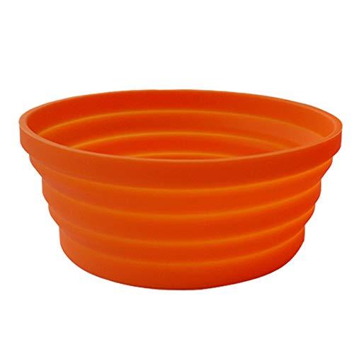 Ecoart Faltbarer Schüssel Tragbare Lunch Box für Outdoor Camping und Wandern haltbar und platzsparend 1 Stück (Orange)