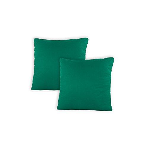 SHC Kissenbezug Doppelpack 50x50 cm in Emerald/smaragdgrün als Deco Kissen Zierkissen Couchkissen Sofakissen oder Kopfkissenbezug mit Reißverschluss aus 100{499422944a61354fa5886795fd6c0f9e1ffb9abe04c2b2f3f34d4d0f01151847} Baumwolle