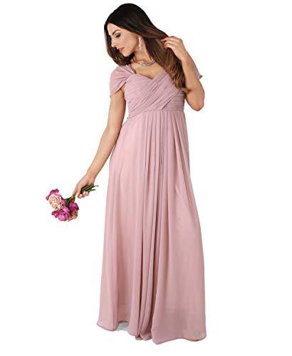 KRISP Damen Kreuz Front Bodenlanges Ballkleid, Abendkleid mit Herzausschnitt und Feinen Details- Gr. 36 (XS), Altrosa (4815) - Details Damen Kleid