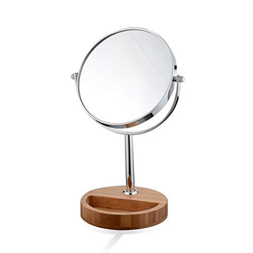 7 Inch Double-Sided Schminkspiegel Kosmetikspiegel 3X Vergrößerung mit Storage Tray Base 360 Grad Rotationsmetall-Dressing-Tischspiegel -