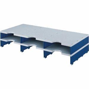 Styro Aufbaueinheit trio 6 Fächer grau/blau