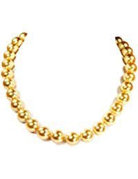 Tahiti Seashell Pearls , fantastic necklace, golden coloured *very beautiful pearls, D-12mm* lovely chain, length about 46cm from amazing semiprecious stones *New*