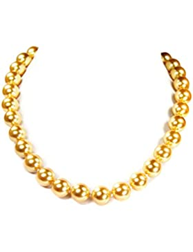 Halskette aus goldfarbigen Tahiti-Muschelkernperlen D-12 mm L-46 cm