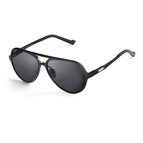HODGSON Sonnenbrille Polarisiert Pilotenbrille Herren Damen, Moderne Verspiegelte Polarisierte Sonnenbrille, 100% UV400 Pilot Brille Unisex Schwarz/Grau