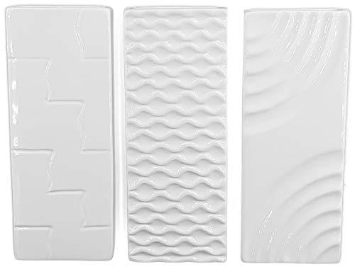 Hochwertige Luftbefeuchter 3-teiliges Set - für Heizung aus Keramik - glänzend glasiert - Luftreiniger Wasserverdunster Verdamper verdunster Klima in weiß