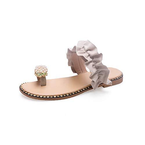 QIA Frauen-Sommer-Flache Sandelholz-Schuhe, Ananas-Art Imitationsperle-dekorative Pantoffel, stilvolle leichte Rutschfeste Sandalen im Freien,38