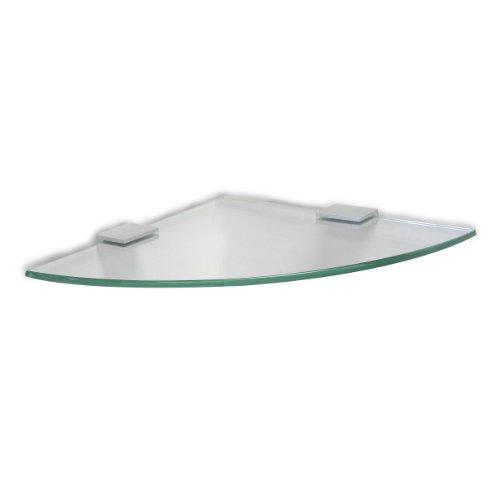 TATAY ICE - Estante rinconero de aluminio y vidrio pulido, 25 x 1,4 x 25 cm