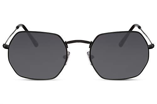 Cheapass Sonnenbrille Oktogonal Schwarz Getönt UV-400 Rund Acht-Eckig Sport-liche Designer-Brille Metall Herren Damen