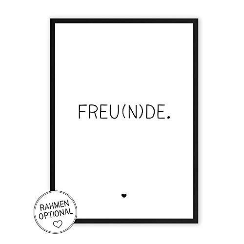 FREU(N) DE - Kunstdruck auf wunderbarem Hahnemühle Papier DIN A4 -ohne Rahmen- schwarz-weißes Bild Poster zur Deko im Büro/Wohnung/als Geschenk Mitbringsel zum Geburtstag etc.
