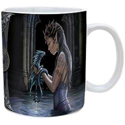 Pyramid International Anne Stokes - Taza (cerámica), diseño de mujer y dragón en el agua