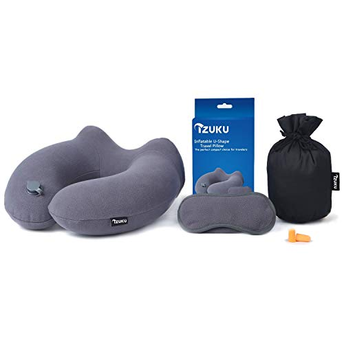 Izuku cuscino da viaggio gonfiabile cuscino da collo con tappi per orecchie e mascherina per dormire con lavanda a secco incorporato in aereo, auto, e treno