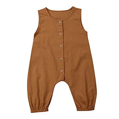 Alwayswin Baby Mädchen Jungen Solide Ärmellose Overall Strampler Kleidung Outfits Sommer Bequem Weste Romper Einfarbig Weich Babykleidung Mode Freizeit Tägliche Kleidung