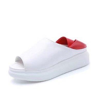 LQXZM La femme Chaussons & amp; tong sandales Printemps Été PU Confort Talon plat décontracté noir rouge vert Télévision Ruby