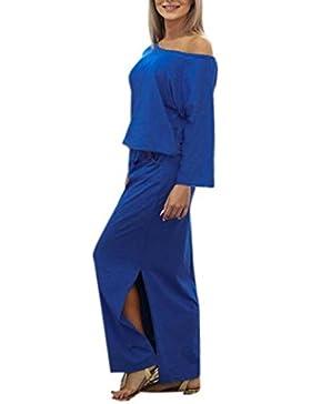 Vestir Mujer, Tefamore Mujeres de manga larga largo Maxi BOHO vestido de fiesta con bolsillo