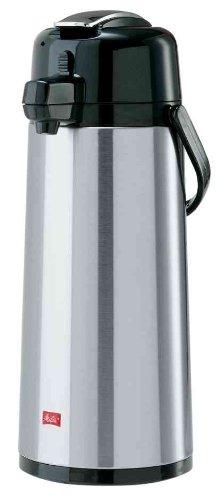 Melitta Pump-Isolierkanne, 2,2 l, ca. 16 Tassen, Glaskolben, Edelstahl, Silber/Schwarz