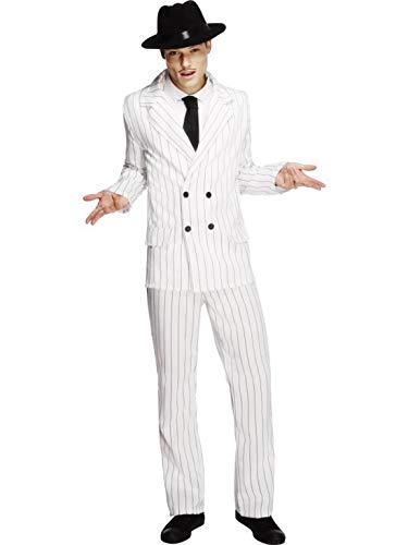 Luxuspiraten - Herren Männer Nadelstreifen Anzug Gangster Kostüm im 20er Jahre Al Capone Stil mit Jacket, Hose und Krawatte, perfekt für Karneval, Fasching und Fastnacht, M, Weiß