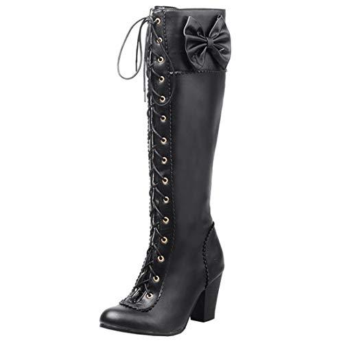 Artfaerie Damen Blockabsatz High Heels Langschaftstiefel mit Schleife und Schnürung Süße Knie Hoch Stiefel Lolita Schuhe(EU 39,Schwarz)
