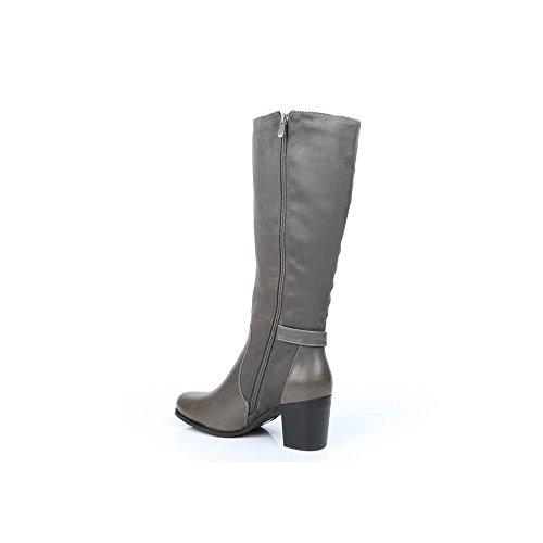 Ideal Shoes–Stiefel Bi-Material mit Gurtbändern Veronique Grau - grau